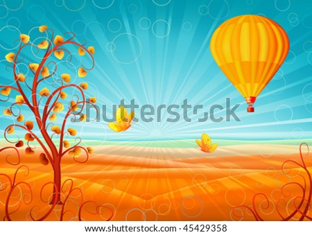 Fantastic autumn scenery with a tree, hot air balloon and butterflies (other landscapes are in my gallery) - stock vector