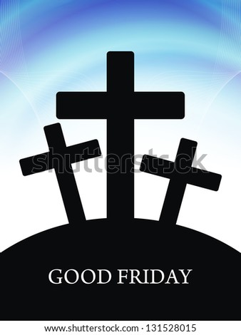 Fantastic background for Good Friday in blue color with black crosses. - stock vector