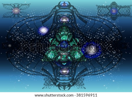 Fantastic background for the literature, computer interface of game. The futuristic user interface. Abstract polygonal space. A futuristic background. - stock vector