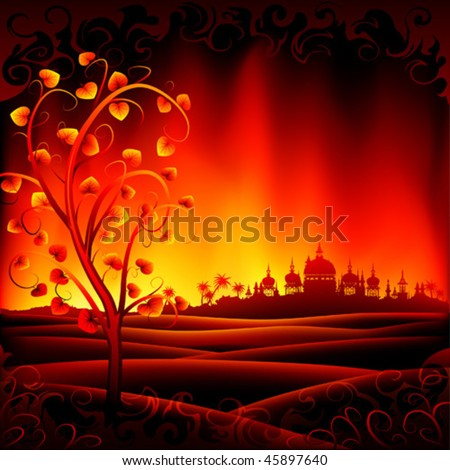 Fantastic burning hell scenery with a tree and an ancient city - stock vector