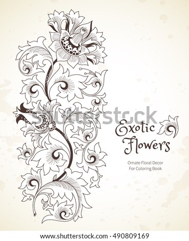 Fantastic exotic flowers in Chinese style. Luxury ornament. Black and White floral illustration. Graphic arts for Coloring Book. Beautiful vector element, vignettes for design template.