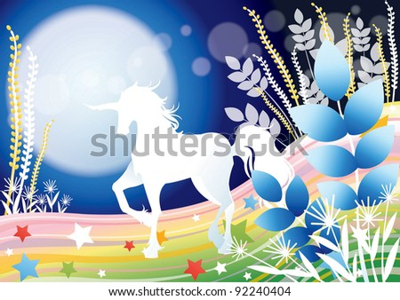 Fantastic Fairy Tale with a Fabled Unicorn - standing a beautiful white horse on the colorful rainbow field with a soft moon light on blue background : vector illustration