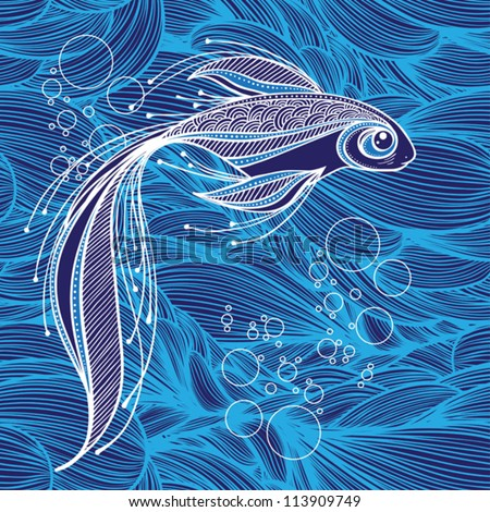 fantastic fish on the background of waves - stock vector