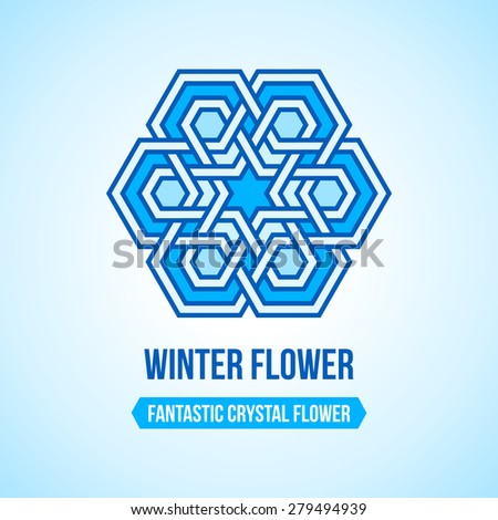 Fantastic flower icon with tangled modern pattern design elements, based on traditional oriental arabic patterns. Vector illustration. Plain colors - easy to recolor. - stock vector