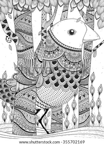 fantastic giant bird coloring page in exquisite line - stock vector
