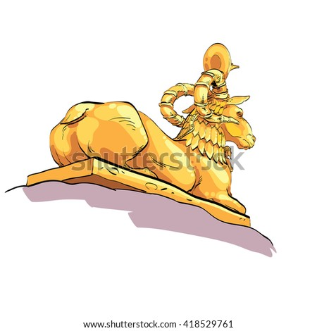 Fantastic Golden sheep from tales - stock vector