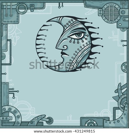 Fantastic image of iron moon. Metal amulet. A background - a frame from iron details, the steel mechanism. Vector illustration.