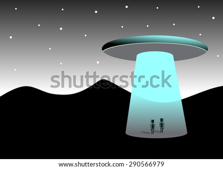 Fantastic landscape, mountains and aliens - stock vector