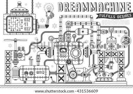 Fantastic machine in doodle style. Steampunk apparatus for fulfillment of desires. - stock vector