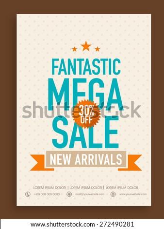 Fantastic Mega Sale poster, banner or flyer design with 30% discount offer on new arrivals. - stock vector