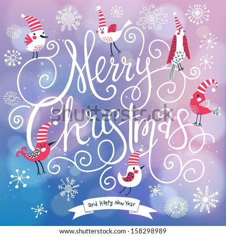 Fantastic Merry Christmas card in vector. Cute stylish birds on Merry Christmas text on bright bokeh background - stock vector