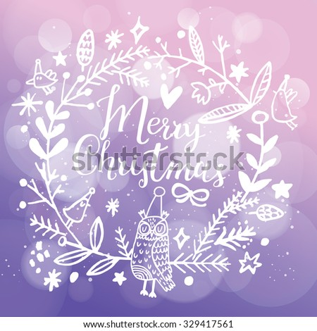 Fantastic Merry Christmas card in vector. Stylish Merry Christmas text in lovely floral wreath with birds and sweet owl on bright bokeh background in violet colors - stock vector
