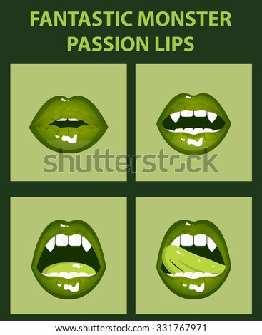 Fantastic monster set of 4 sexy open mouths, tongue hanging out, green erotic seductive lips, passion, fangs - stock vector