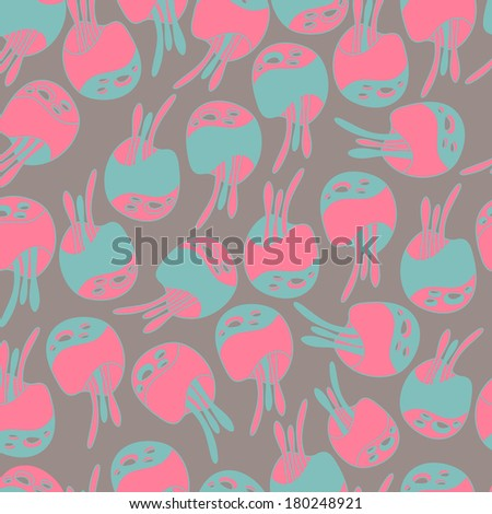 Fantastic mushrooms continuous seamless vector pattern.Floral background with flowers. Seamless pattern can be used for web page backgrounds, wallpapers ,pattern. Bright spring colors gray pink