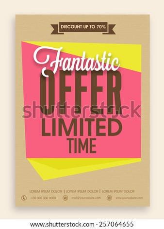 Fantastic offer for limited time flyer, banner or template design with best discount for your business. - stock vector