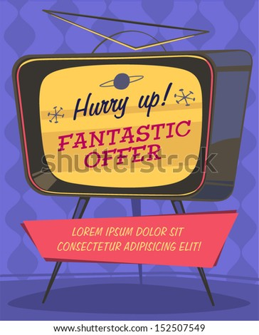 Fantastic offer on TV. Retro styled vector poster.  - stock vector