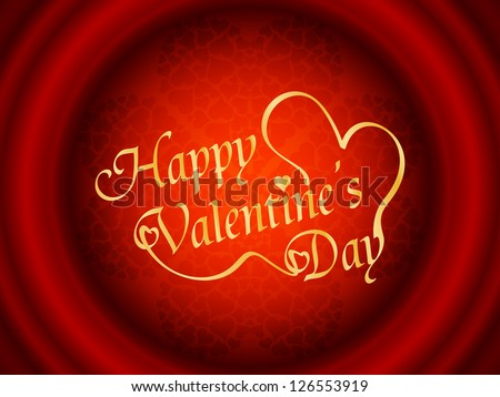 Fantastic red color background with hearts and golden color happy valentine's day text. vector illustration