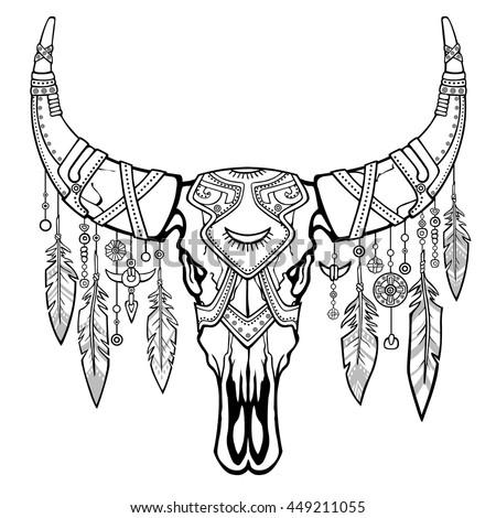 native american symbol totem on a buffalo native american