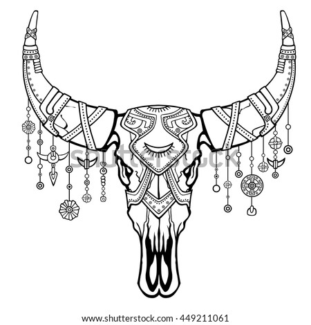 stock vector fantastic skull of a bull ethnic jewelry and beads indian motives boho design the linear 449211061