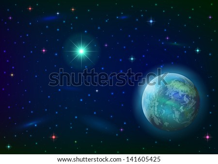 Fantastic space background with unexplored blue planet, green sun, stars and nebulas. Elements of this image furnished by NASA. Vector eps10, contains transparencies - stock vector
