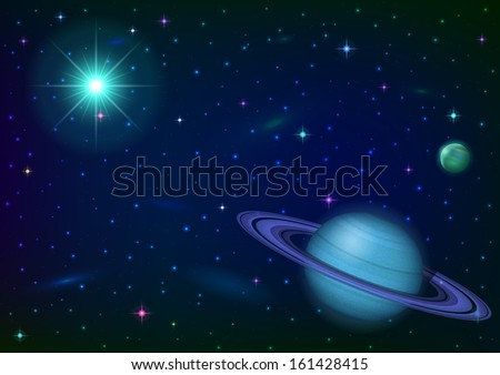 Fantastic space background with unexplored blue planet with ring, satellite, sun, stars and nebulas. Elements of this image furnished by NASA. Vector eps10, contains transparencies - stock vector