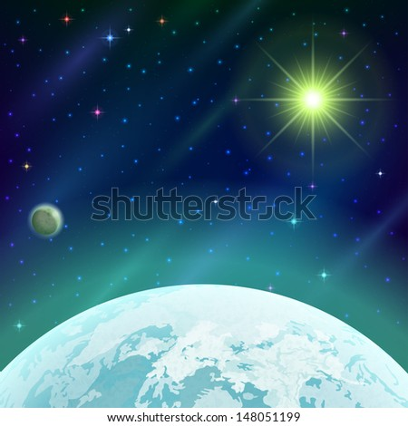 Fantastic space background with unexplored green planet, satellite, sun, stars and nebulas. Vector eps10, contains transparencies - stock vector