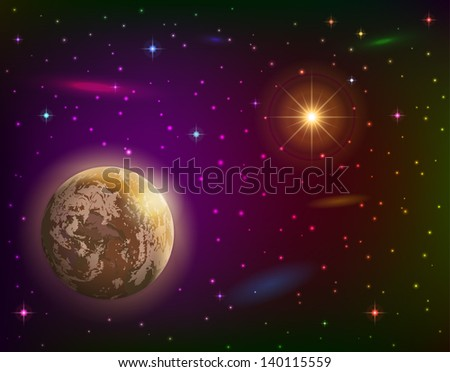 Fantastic space background with unexplored planet, orange sun, stars and nebulae. Elements of this image furnished by NASA. Vector eps10, contains transparencies - stock vector