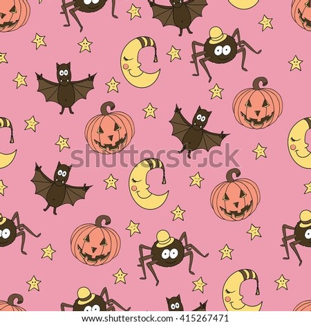 Fantastic unusual seamless halloween pattern with pumpkins, bats, spiders, moons and stars. Can be used for wallpaper, greeting cards, webpage backgrounds, wrapping paper or fabric.  - stock vector