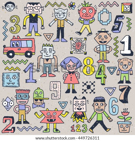 Fantastic Wacky Doodle Numbers Characters Set 1. Color Hand Drawn Vector Illustration.