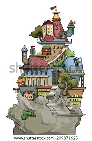 Fantastic weird cute colorful city village, with various buildings and trees, vector illustration - stock vector