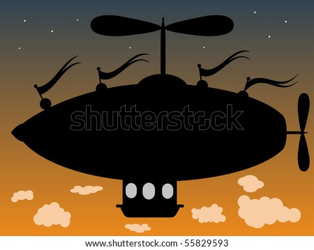 Fantasy Airship flying above clouds at dusk Outline of fantasy blimp like ship hovering in sky as day turns to night editable vector illustration - stock vector