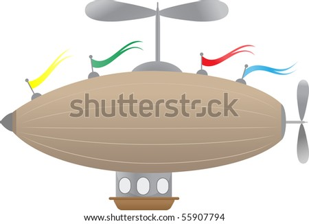 Fantasy Airship with flags Editable Vector Illustration of blimp like abstract airship, basket and windows