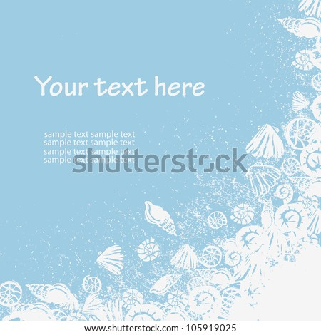 fantasy and fresh hand painted textured maritime cad in  white and blue - stock vector
