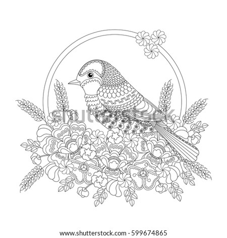Stylized Two Sparrows Sitting On Blooming Stock Vector 496343143