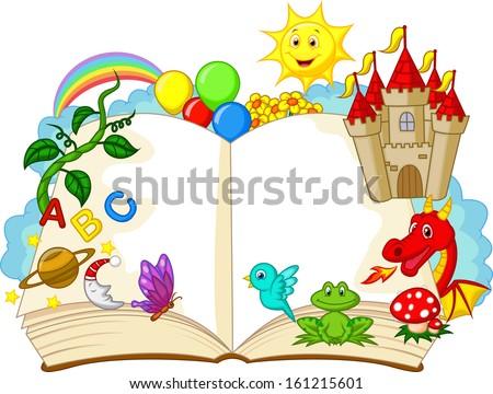 Fantasy book cartoon - stock vector