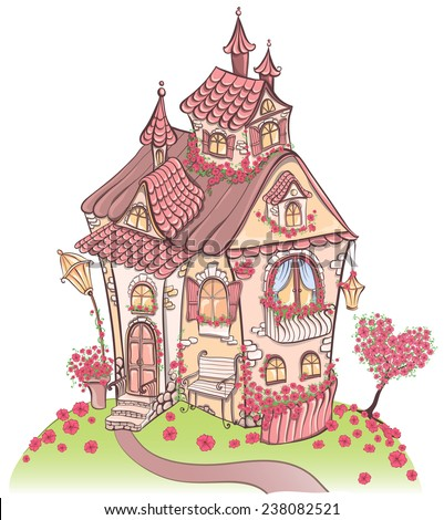 Fantasy cartoon Fairy tale house with amazing architecture and with flowers. Hand drawn vector illustration - stock vector