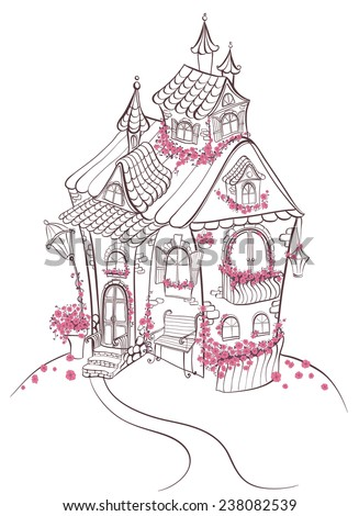 Fantasy cartoon Fairy tale house with flowers. Hand drawn vector illustration