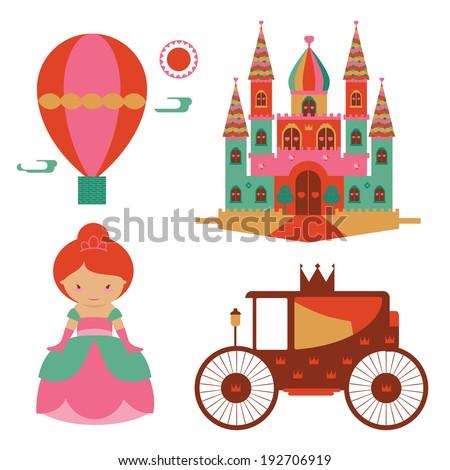 Fantasy castle and princess illustration set - stock vector
