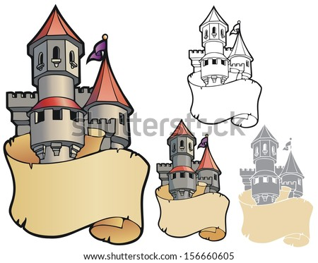 Fantasy castle with scroll, bookplate with variations - stock vector
