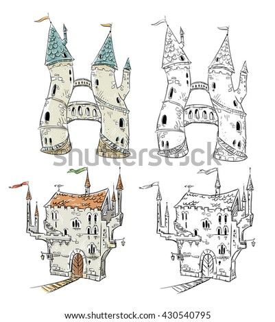 Fantasy castles  illustration  - stock vector