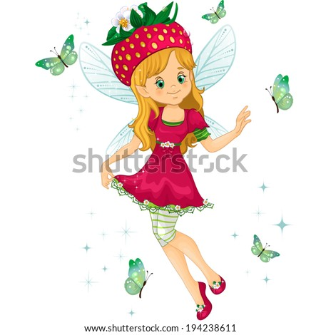Fantasy character with strawberry for a hat-isolated-editable-transparency blending effects and gradient mesh EPS-10. - stock vector