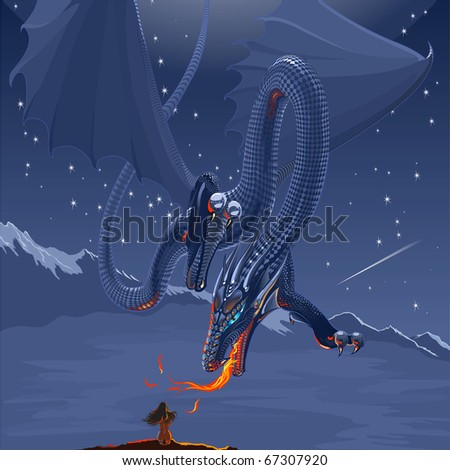 Fantasy creature horned blue silver dragon flying in night landscape under full moon and attacking small naked girl that sitting on bare rock - stock vector