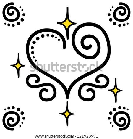 Fantasy decorative curly heart, vector illustration - stock vector