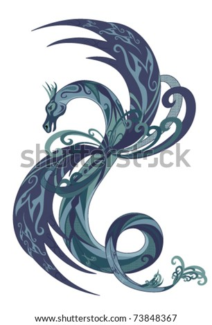 fantasy dragon vector illustration - stock vector
