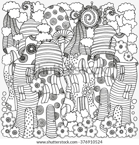 Fantasy Fairy Houses In The Magic Forest Pattern For Coloring Book