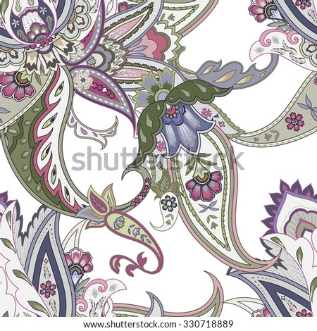 Fantasy flowers seamless paisley pattern. Floral ornament, for fabric, textile, cards, wrapping paper, wallpaper template. - stock vector