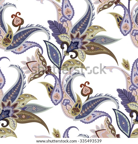Fantasy flowers seamless paisley pattern. Wrapping print. Floral ornament, for fabric, textile, cards, batik, wallpaper template, packaging.Ornamental  background - stock vector