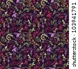 fantasy hand drawn field flowers vector seamless pattern in dark violet tones - stock vector