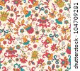 Fantasy  hand drawn flowers vector seamless pattern. Made in clear and cheerful tones - stock photo