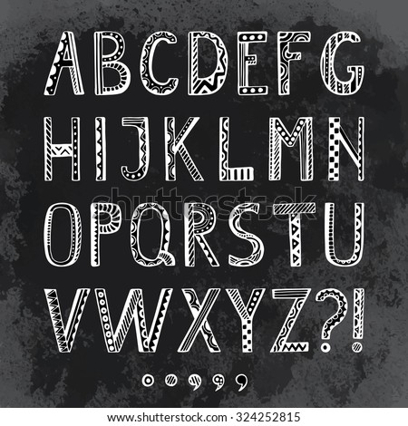 Fantasy hand drawn font in doodle style. Vector letters set on grunge background. Collection ornamental Alphabet